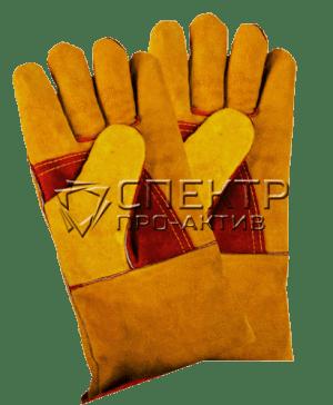Краги спилковые пятипалые, на подкладке, с усиленным пальцем,  красно-желтые