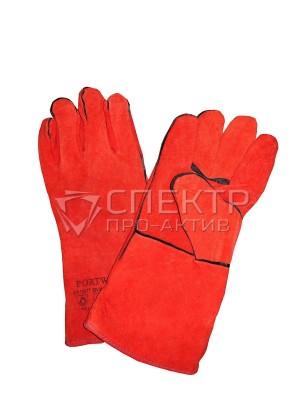 Краги спилковые пятипалые, на подкладке, красные