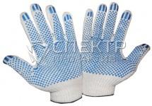 Перчатки ХБ с ПВХ, 7 класс вязки, вес 25-26 гр